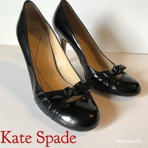 Kate Spade Bowtie black patent leather heels 8 1/2
